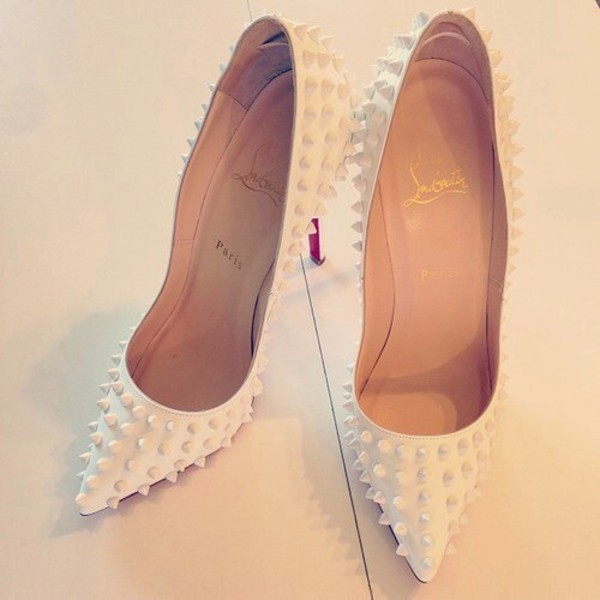 shoes spiked shoes white heels high heel pumps louboutin