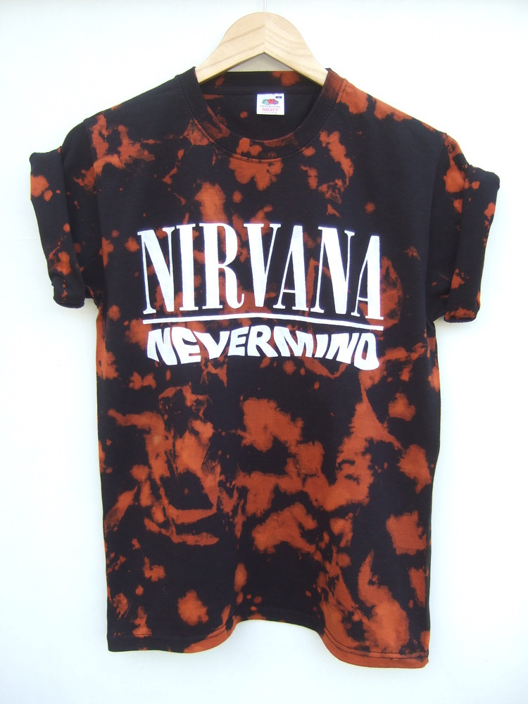 Tappington and wish — tie dye nirvana nevermind black bleach t shirt
