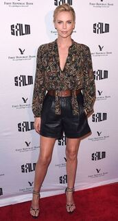 blouse,shorts,sandals,charlize theron