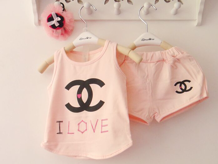 New 2014 summer children's clothing boy girl baby cc big brands printed letter vest t shirt   shorts pants kids two pcs set