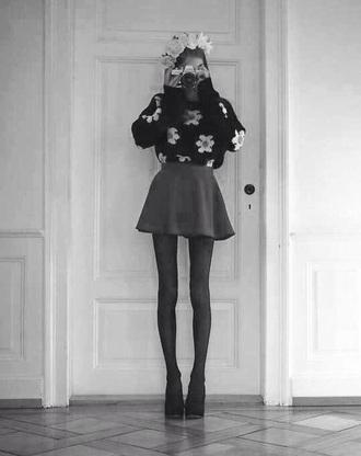 blouse flower pattern blouse sweater flower sweater scene flower crown skinny