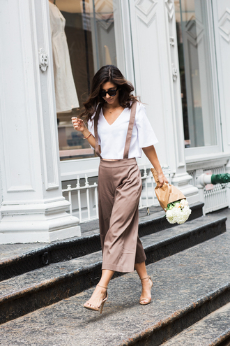 this time tomorrow blogger sunglasses white top silk wide-leg pants overalls nude heels strappy heels