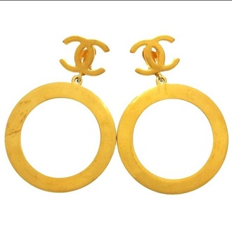 vintage earrings chanel hoops
