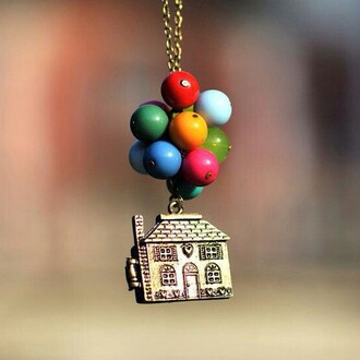 jewels baloons necklace up movie colourful colours jewelry necklaces cute house