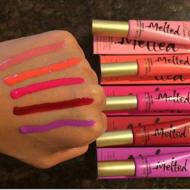 make-up melted lip tar lip gloss long wear lipstick too faced cosmetics purple lipstick orange lipstick hot pink lipstick light pink lipstick red lipstick
