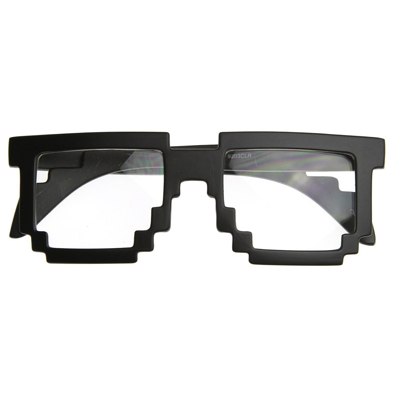 Amazon.com: Pixelated 8-Bit Clear Lens Computer Nerd Geek Gamer Glasses (Matte Black): Shoes