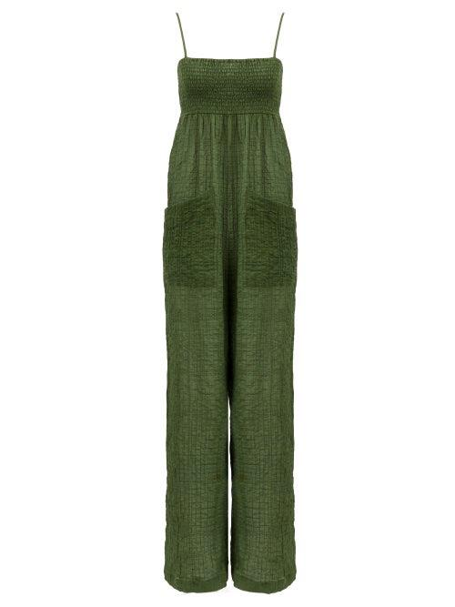 Three Graces London - Tallie Crinkled Cotton-blend Voile Jumpsuit - Womens - Green