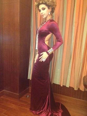 dress burgandy backless
