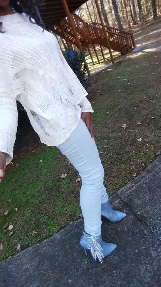 shoes luichiny blue fringes fringe shoes boots