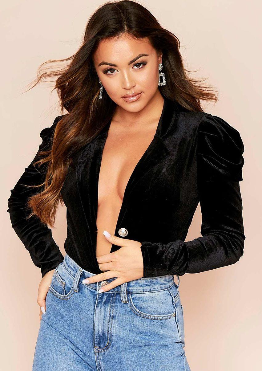 Leonie Black Velvet Ruched Bodysuit