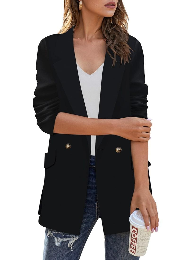 Black Notch Lapel Gold Button Plain Blazer