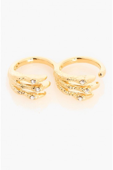 LoveMelrose.com From Harry & Molly | Dragon Claw Double Ring - Gold