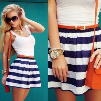 skirt mini stripes girly sailor