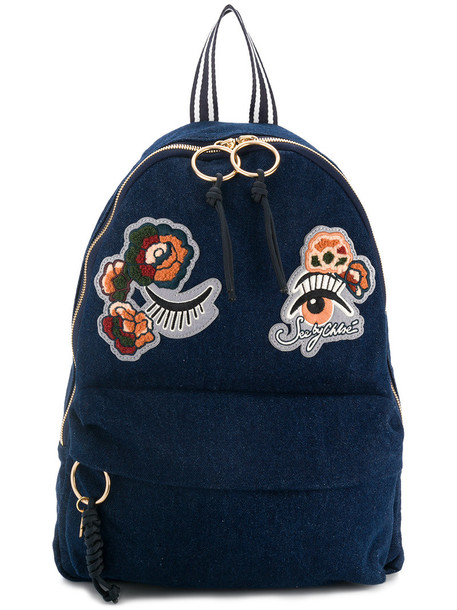 See by Chloe embroidered women backpack cotton blue bag