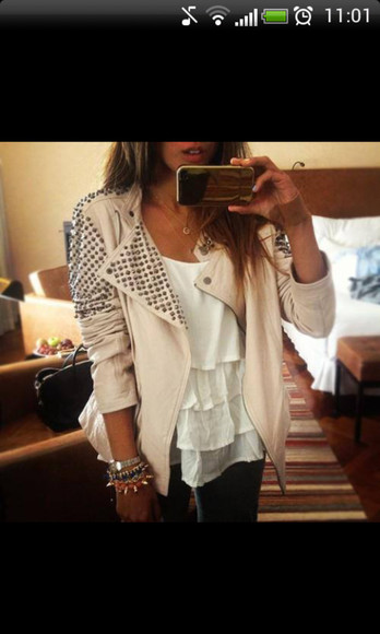 beige white jacket studs cute spikes spiked leather jacket leather jacket white jacket