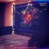 home accessory,rainbow handicraft,celestial burning sun wall tapestry,sun wall hanging,indian tapestry decor,sun wall decore,sleeping sun,stars,colorful,bedroom,psychedelic,celestial