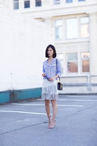 von vogue blogger striped shirt white skirt fringe skirt