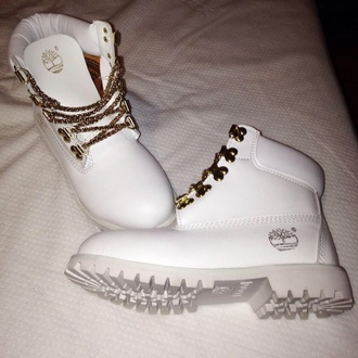 shoes white timberlands white gold