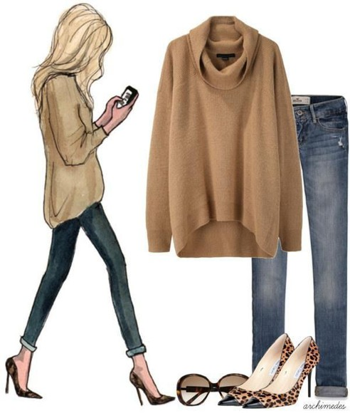 leopard print fashion style sweater jeans high heels