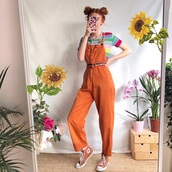 jumpsuit,overalls,fashion inspo,dungarees,orange,outfit,90s style,grunge,converse