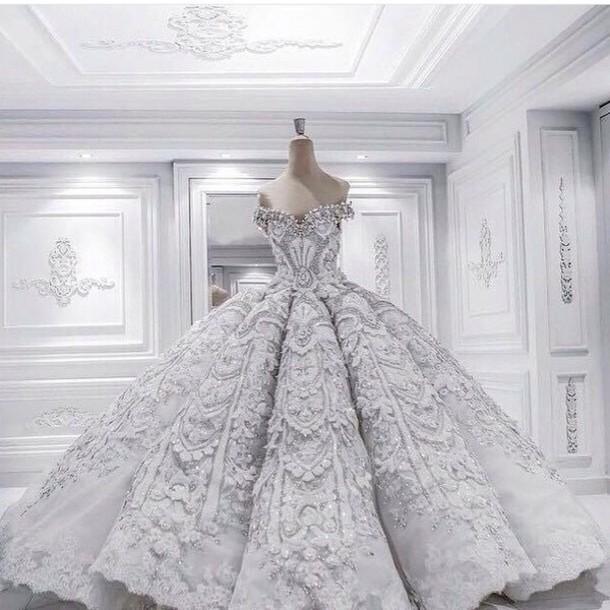Winter Wonderland Wedding Gowns: Dress: Princess Dress, White, Grey, Wedding, Winter