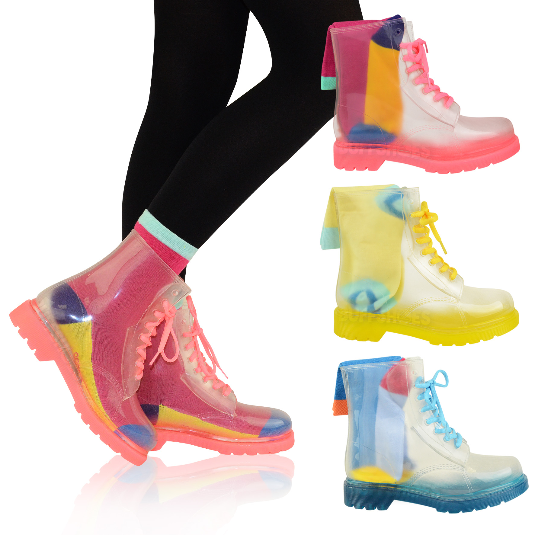 LADIES FLAT CLEAR FESTIVAL JELLY WELLIES LOW ANKLE RAIN BOOTS ...