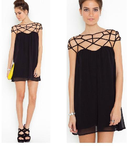 ELEGANT CHIFFON MESH WOVEN HOLLOW OUT DESIGN DRESS / melodyclothing