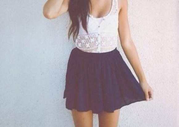 dress blue white summer dress spring dress tank top white summer top cute top skirt blue skirt blouse shirt tank too lace t-shirt dark white t-shirt