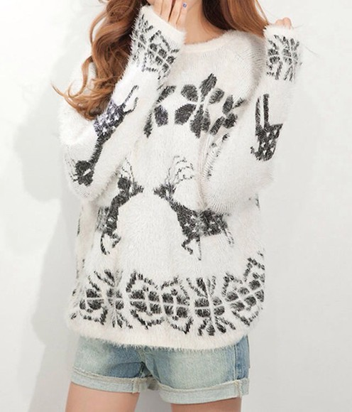 deer sweater winter sweater black and white shirt