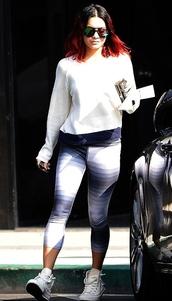 leggings,sneakers,vanessa hudgens,top