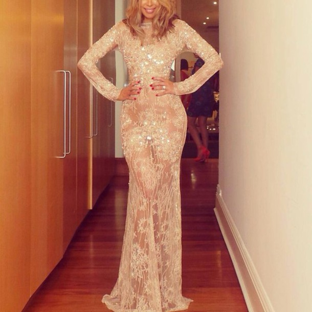 Dress: elegant long dresses, see through dress, see through, sequin dress, gold sequins dress ...