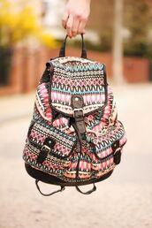 bag,backpack,aztec,aztec bag,rucksack,pink,blue,black,woven backpack,colorful,love,tribal pattern,tribal bag