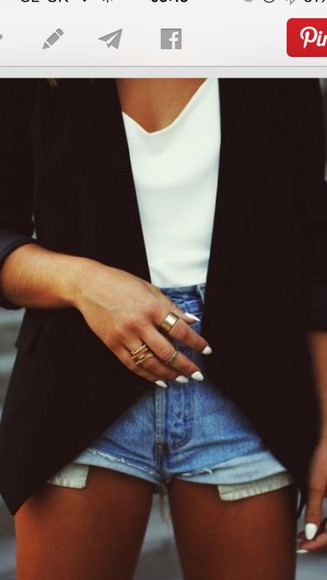 black blazer blouse chiffon tank denim shorts casual relaxed fashion