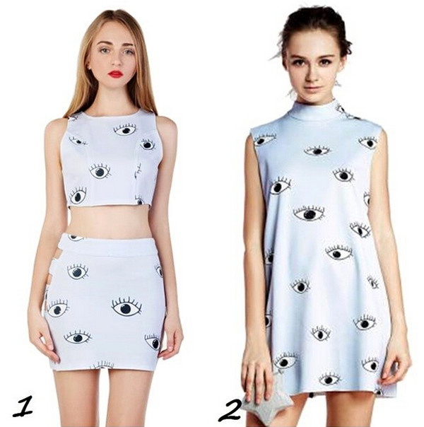 dress eyes print eye eyes cute dress sexy dress sexy crop tops tank top top skirt clothes fashion