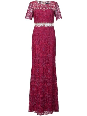 gown lace purple pink dress