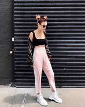 pants,tumblr,pink pants,side stripe pants,sweatpants,boots,white boots,white timberlands,timberland,bra,sports bra,jacket,camouflage,camo jacket,sunglasses,grunge,le happy,blogger,top,shoes,sweater,jeans,bag,t-shirt,shirt