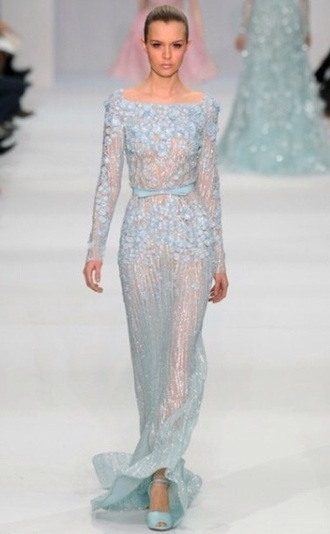 dress elie saab embroidered ice blue couture dress