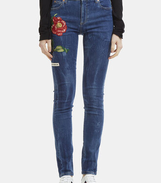 jeans skinny jeans embroidered blue