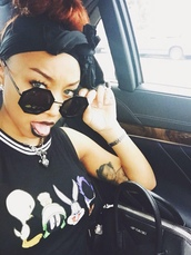 zonnique pullins,sunglasses,black top,dope,shirt,black girls killin it,black,trill,tank top,top