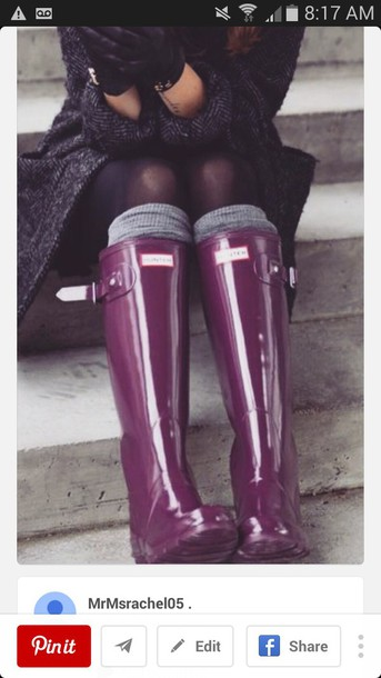 shoes hunter boots wellies plum