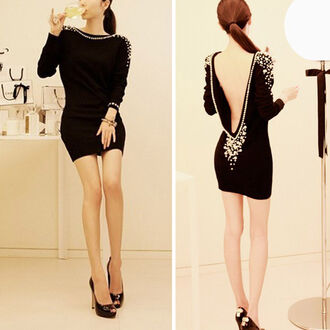 dress little black dress backless dress new year's eve pearl dress with back pearls white pearls jewels