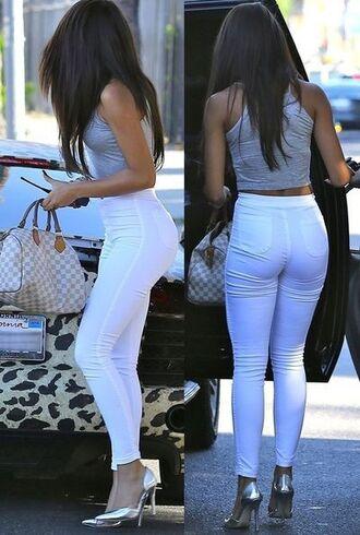 white pants pants shirt white top high heels grey girly greyshirt gray t-shirts long hair louis vuitton skinny pants tight quilted