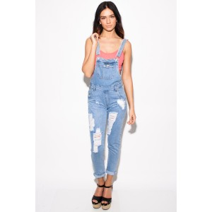 Honora Full Length Ripped Denim Dungarees