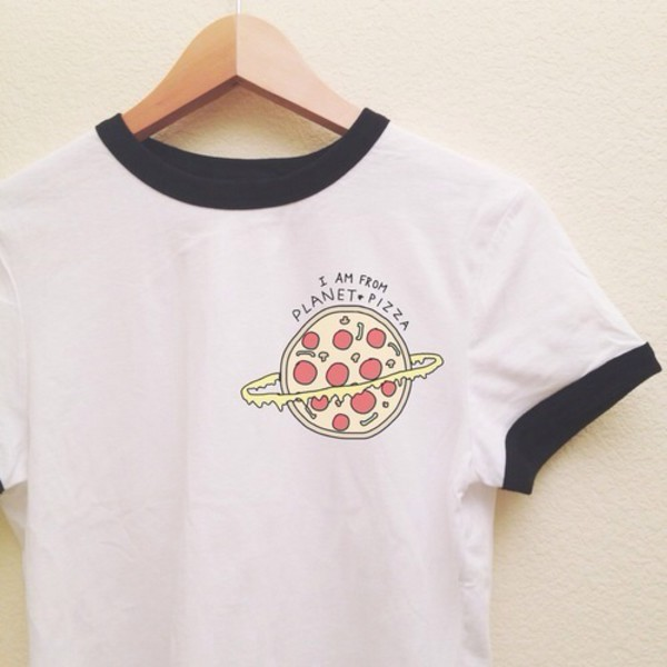 pizza food t-shirt designer alien short sleeve black and white shirt grunge pizza shirt dress t-shirt black and white galaxy dress white t-shirt im from pizza planet white t-shirt aliexpress