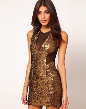 ASOS Mini Dress with Sequin Mesh at ASOS