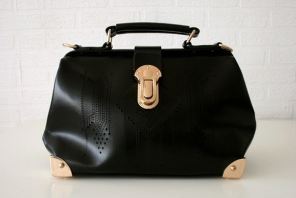 black amazing beautiful bag gold fashion