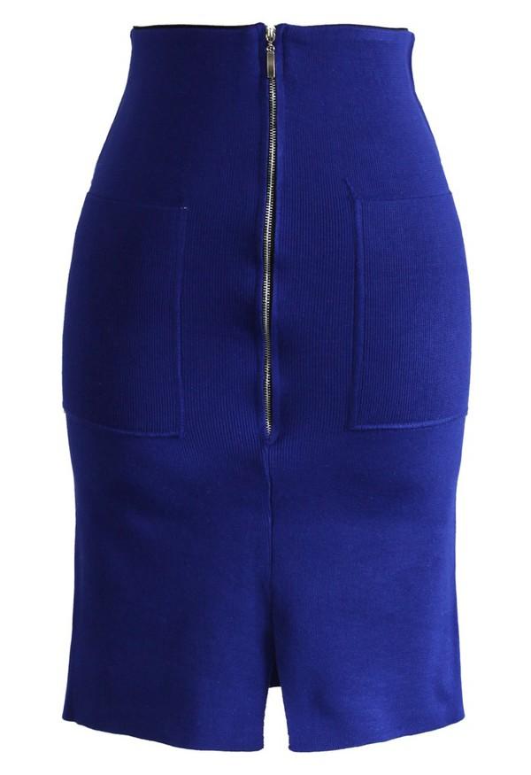chicwish zip knitwear pencil skirt