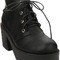 Romwe | tied black platform ankle boots, the latest street fashion