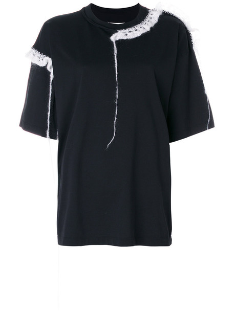 Maison Margiela - T-shirt with mohair embellishment - women - Cotton/Mohair - M, Black, Cotton/Mohair