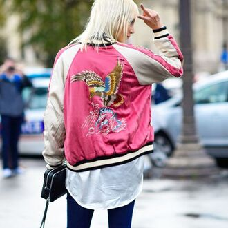 jacket pink jacket embroidered satin bomber